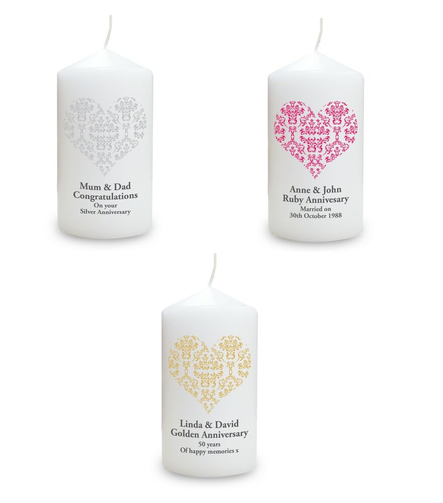 Forty Fifth Wedding Anniversary Gifts: Engraved Personalised Candles Wedding Anniversary Gift