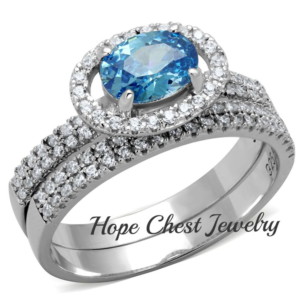 1 CT. STERLING SILVER OVAL AQUAMARINE CZ ENGAGEMENT