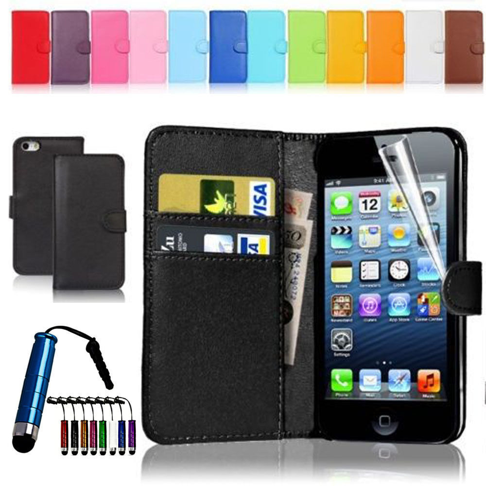 magnetic leather flip wallet case cover for iphone 4s 5s screen protector stylus ebay. Black Bedroom Furniture Sets. Home Design Ideas