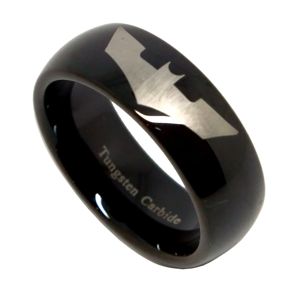 8mm men39s black tungsten batman symbol wedding band for Mens batman wedding ring