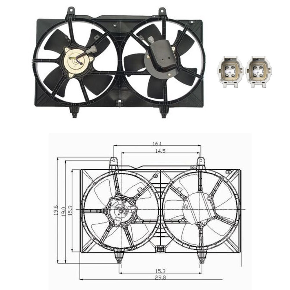 dual rad cond fan assembly fits 2004 2005 2006 2007. Black Bedroom Furniture Sets. Home Design Ideas