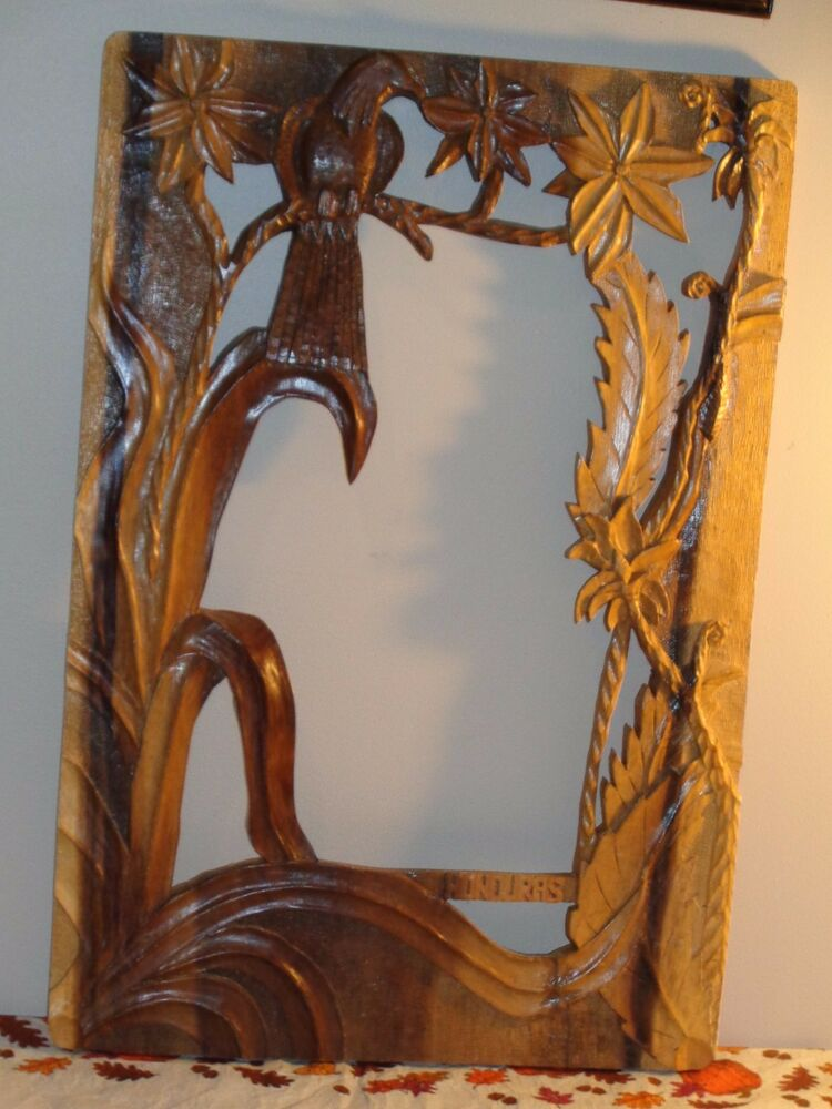 Honduras Hand Carved Wood Wooden Wall Hanging Frame For