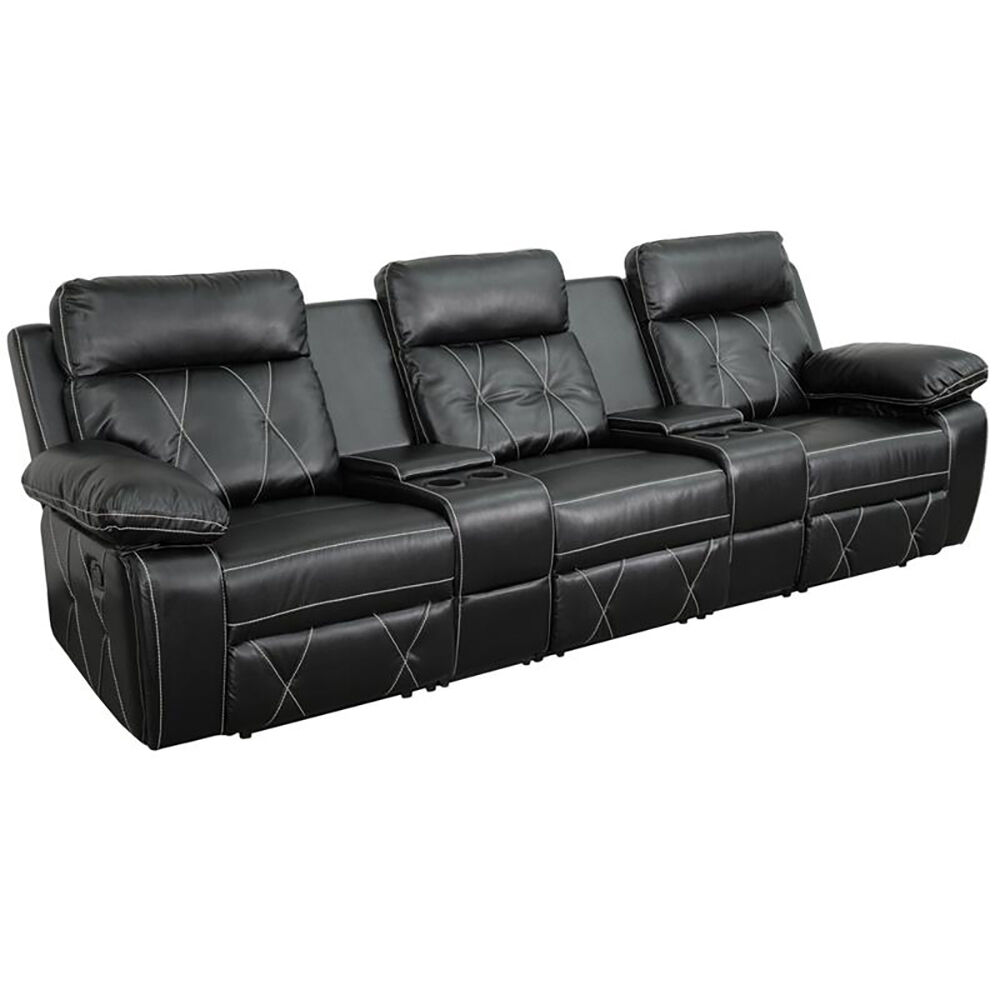 3 Seat Reclining Black Leather Theater Seating Unit With