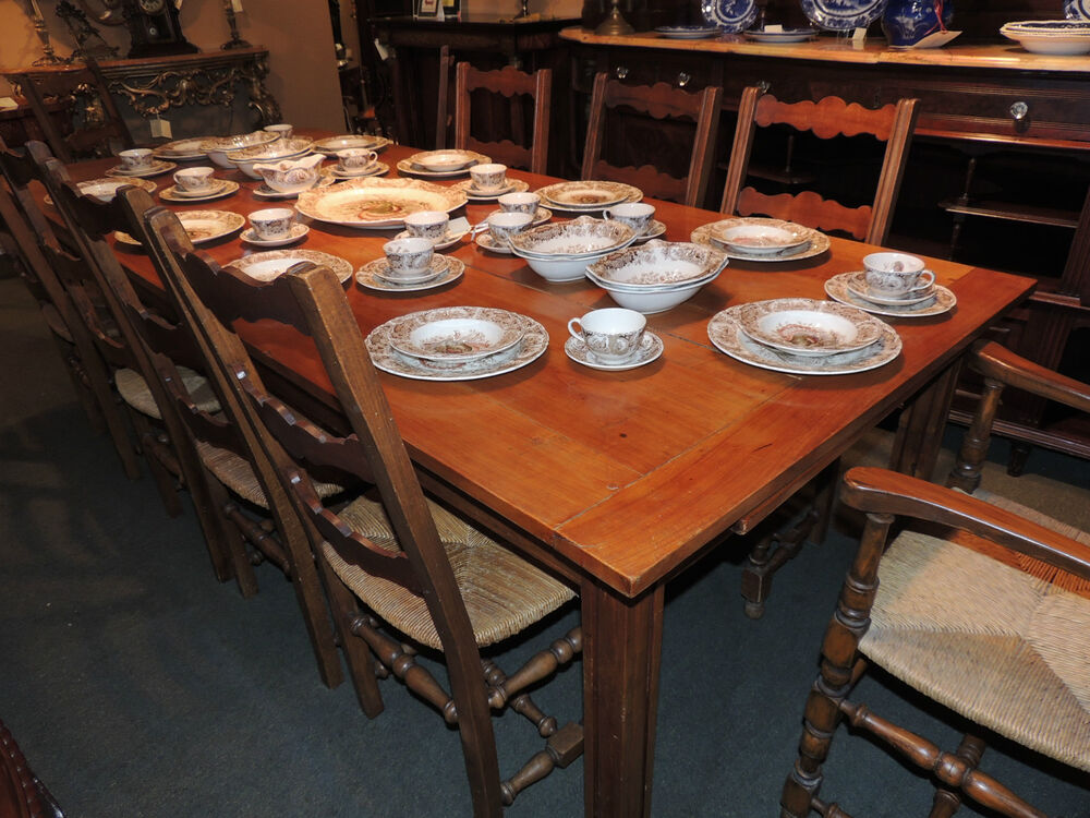 Antique English Country Dining Room Cherry Wood Table