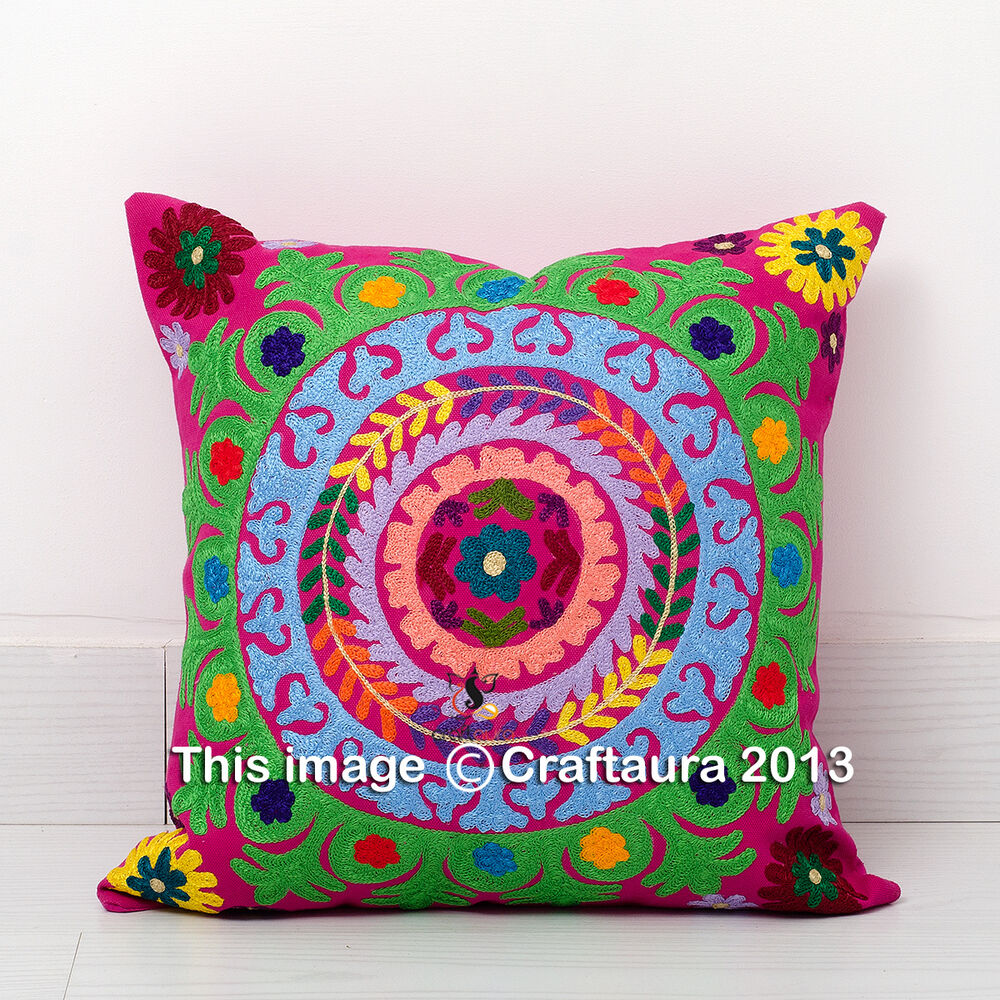 Decorative Toss Pillow : SUZANI EMBROIDERED PILLOW CUSHION COVER Colorful Decorative Toss Throw 16