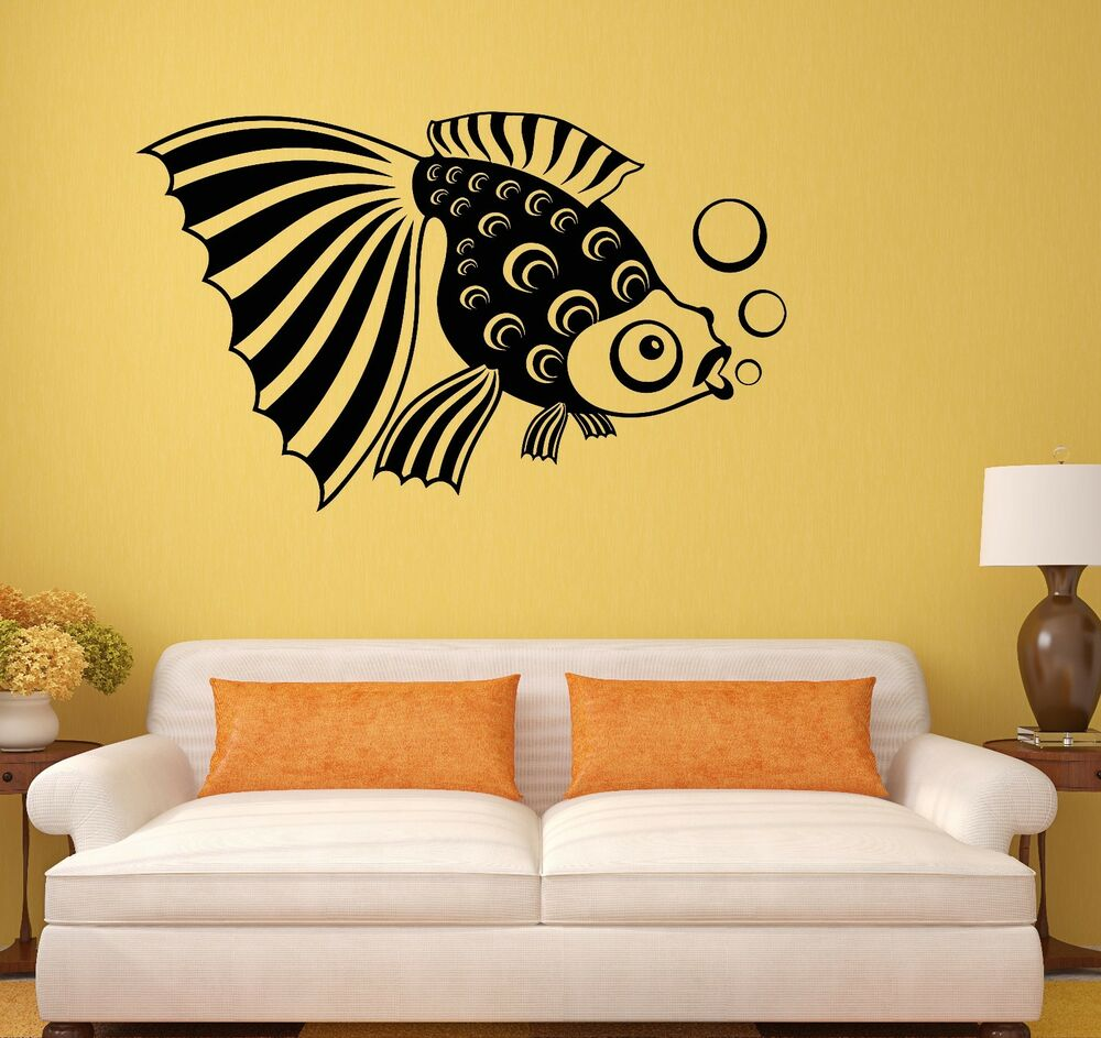 Fish aquarium kids room bathroom art decor wall decal for Bathroom fish decor