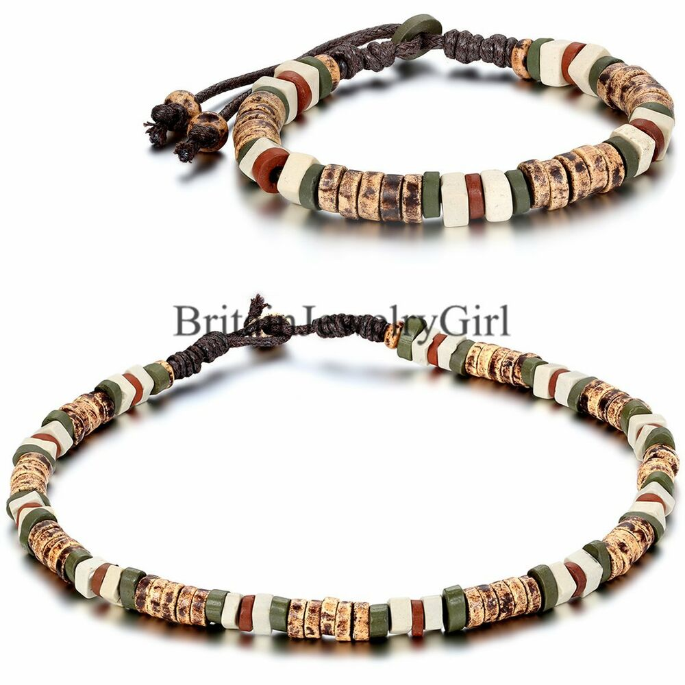Mens womens tribal ceramic beads braided rope cord for Men s jewelry earrings