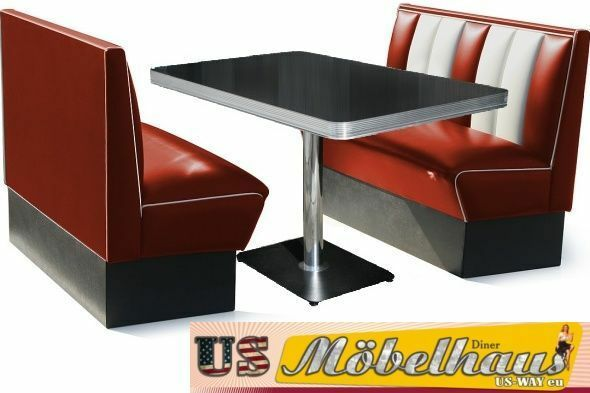 hw 120 r set american dinerbank sitzbank diner b nke m bel 50 s retro usa style ebay. Black Bedroom Furniture Sets. Home Design Ideas