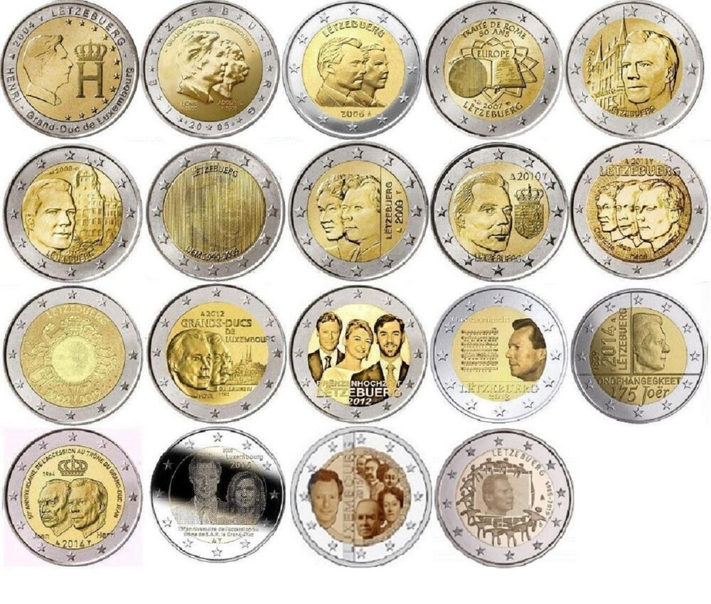 luxembourg 2 euro commemorate coins from 2004 2015 unc. Black Bedroom Furniture Sets. Home Design Ideas