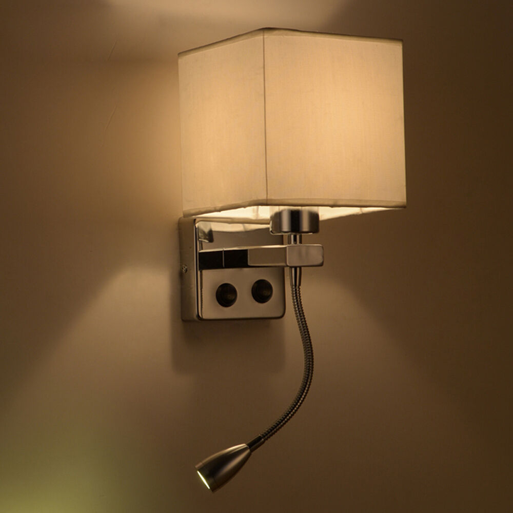 Wall Sconce Lamp With Switch : Simple Fabric Wall Sconce LED Reading Lamp Hotel Porch Bedside Lighting w/Switch eBay