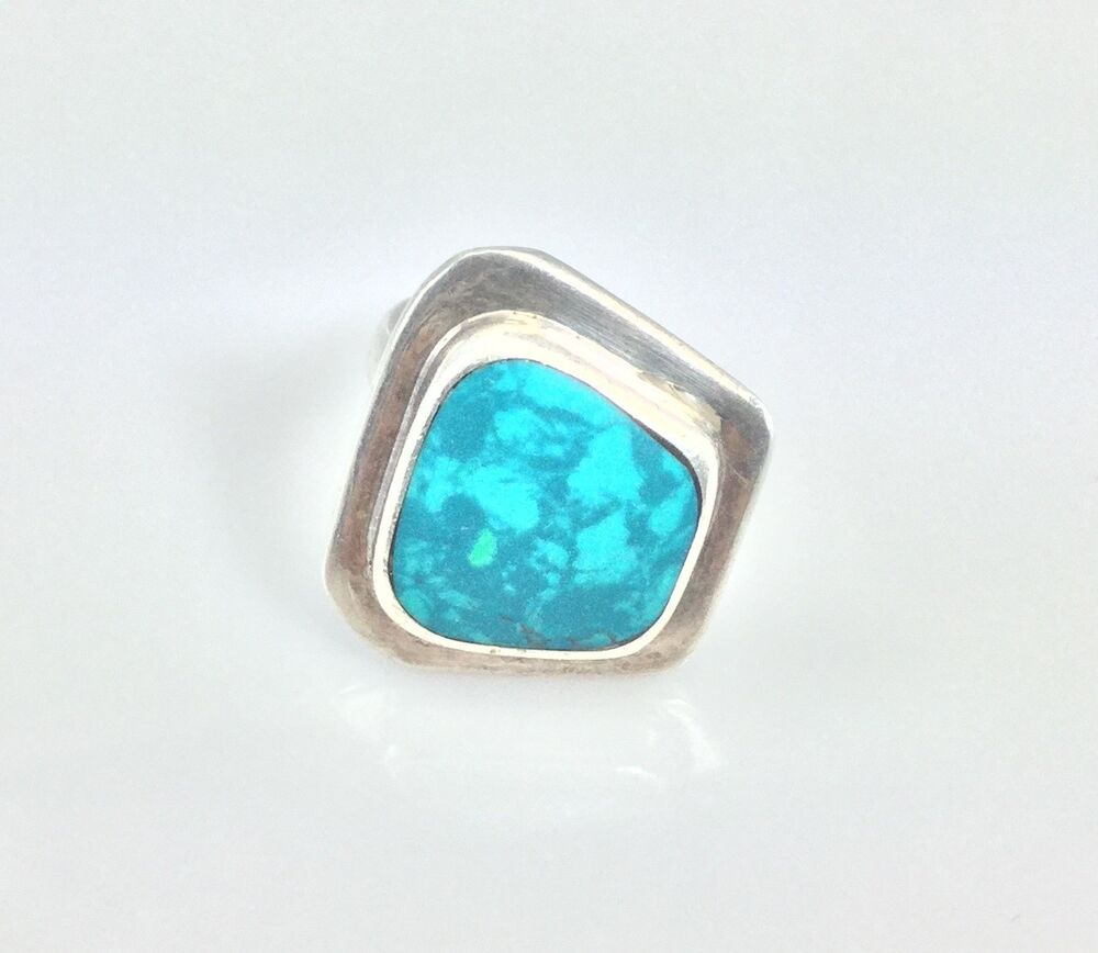 Sterling Silver Turquoise Ring Size 6 Mexico Ati 925 Ebay