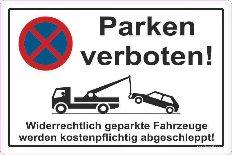 parkverbot aufkleber parken verboten halteverbot hinweisschild 2053 ebay. Black Bedroom Furniture Sets. Home Design Ideas