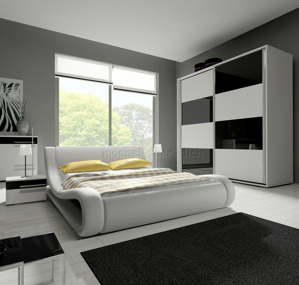 hochglanz komplett schlafzimmer angelo mit designer polsterbett wei schwarz ebay. Black Bedroom Furniture Sets. Home Design Ideas
