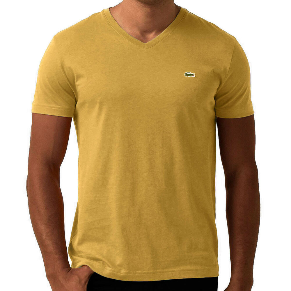 Lacoste men 39 s short sleeve v neck pima cotton tee regular for Men s regular fit shirts