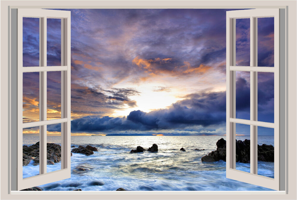 Beautiful sunset ocean coast beach window color wall for Beach window mural