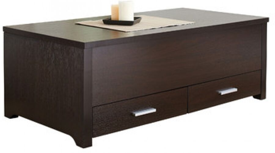 Slide Top Coffee Table With Storage Espresso Wood Trunk Ottoman End Furniture Ebay
