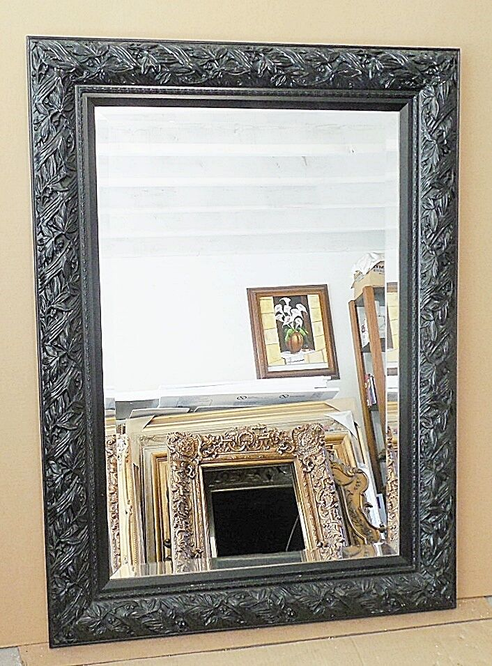 Large solid wood 33x45 rectangle beveled framed wall for Large wall mirror wood frame