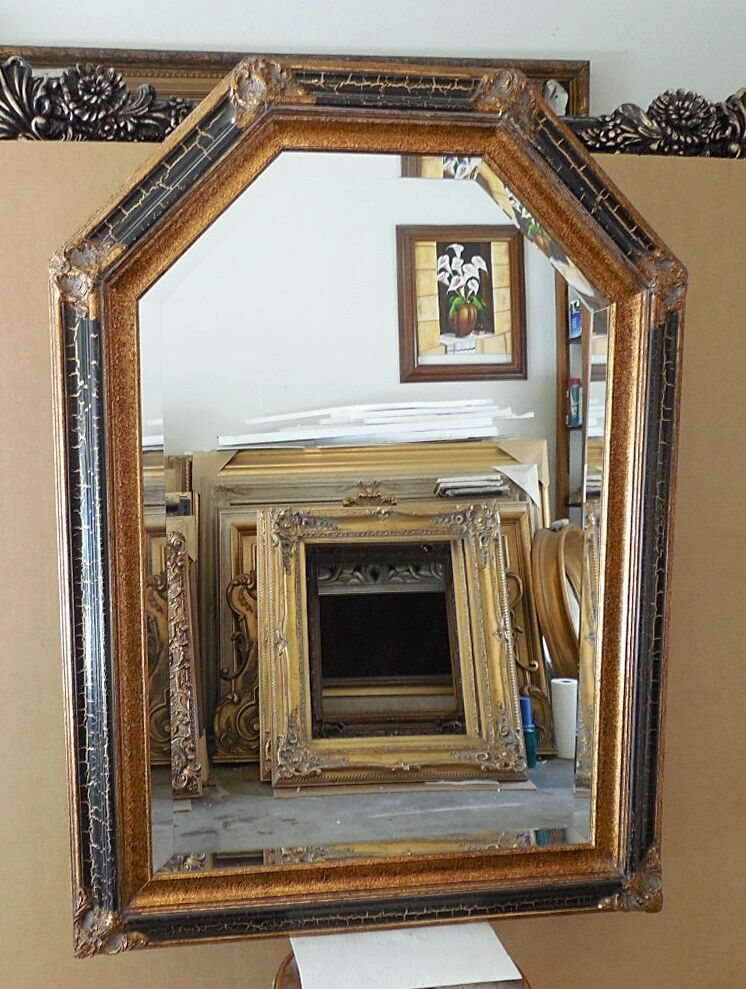 Large solid wood 32x44 arch beveled framed wall mirror for Large wall mirror wood frame