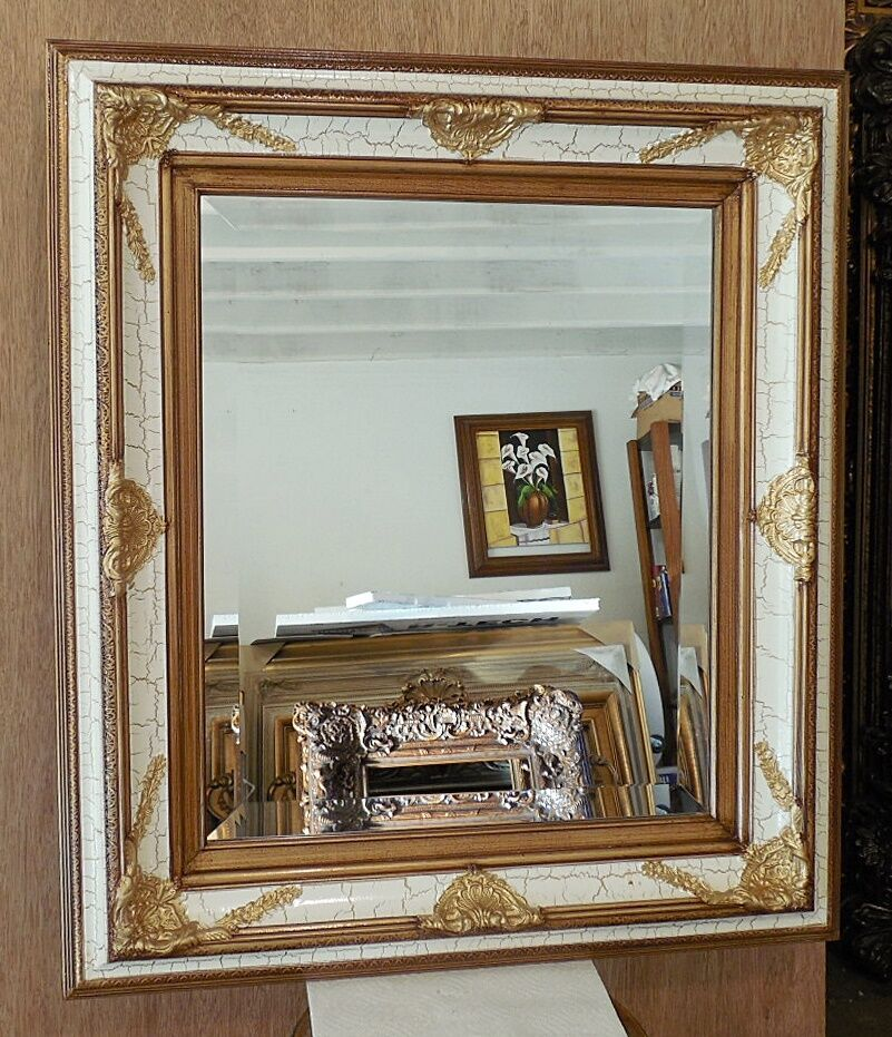 Large solid wood 30x34 rectangle beveled framed wall for Big framed mirror