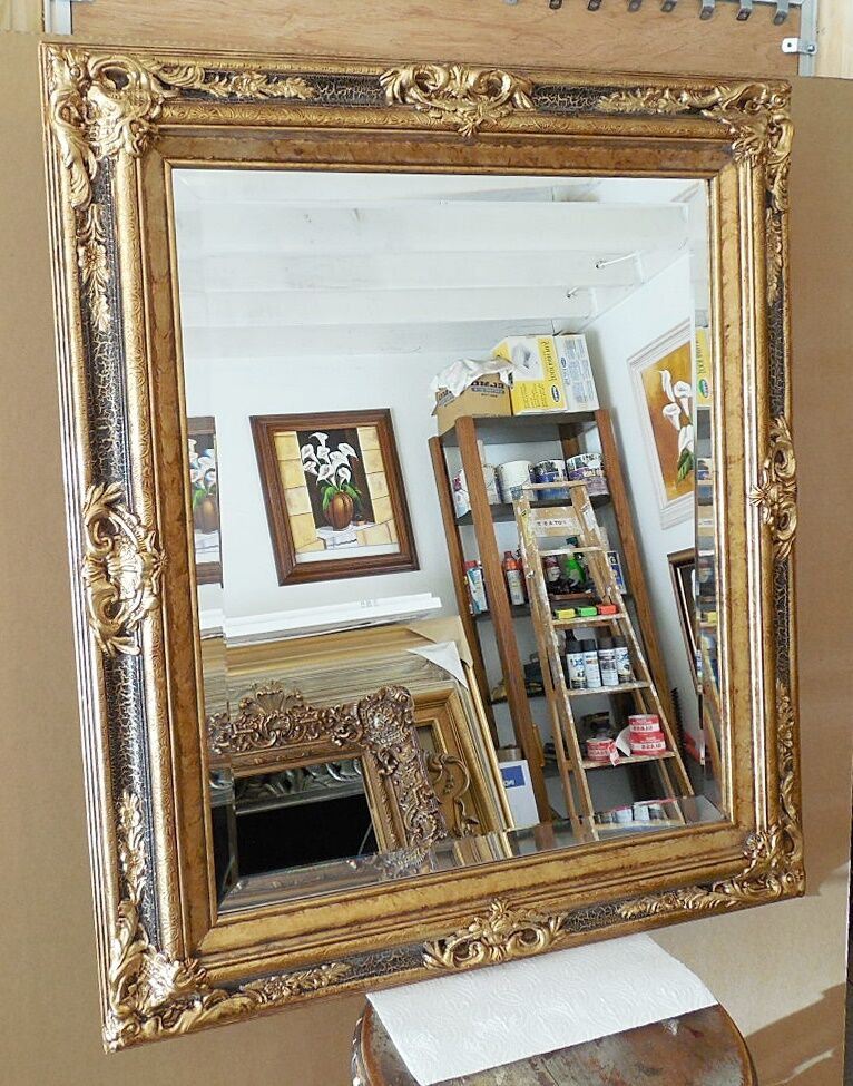 Large solid wood 27x31 rectangle beveled framed wall for Tall framed mirror