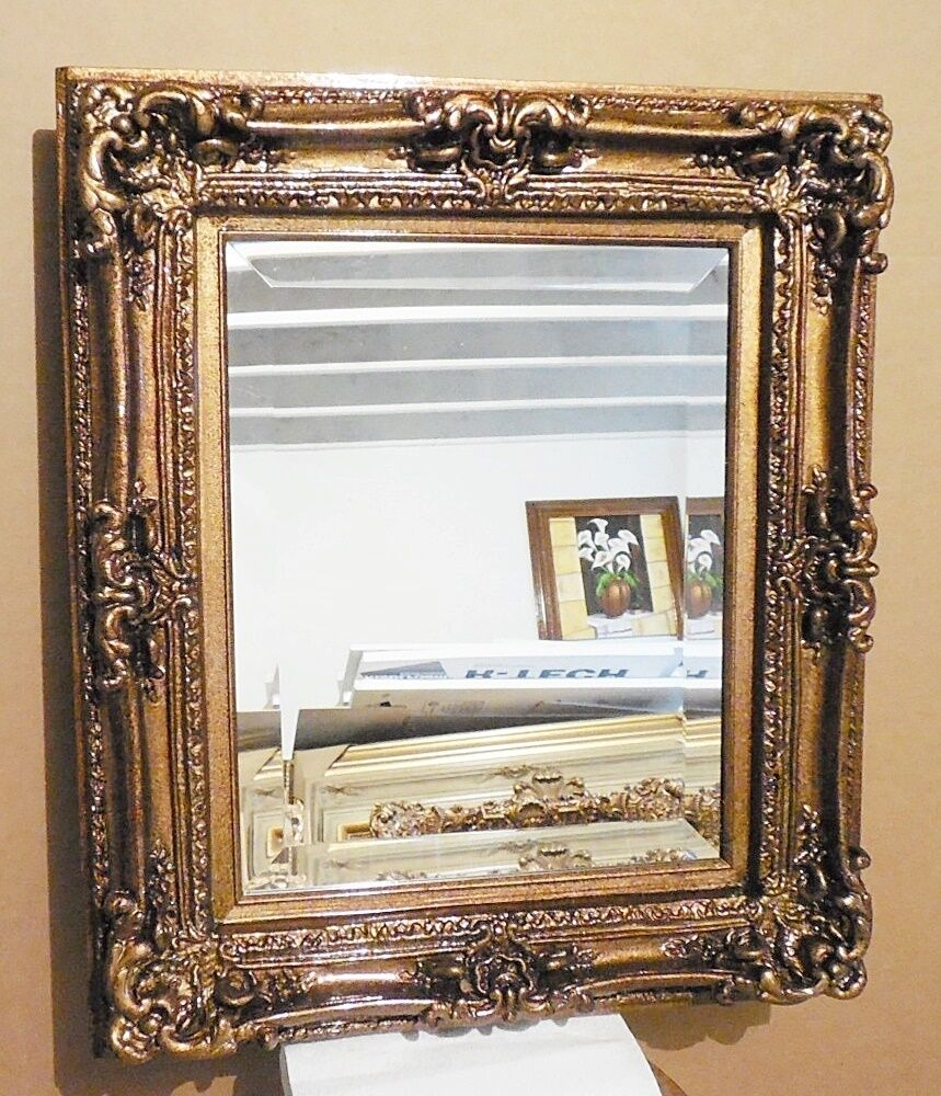 Large louis xv wood resin 25x29 rectangle beveled framed for Large framed wall mirrors
