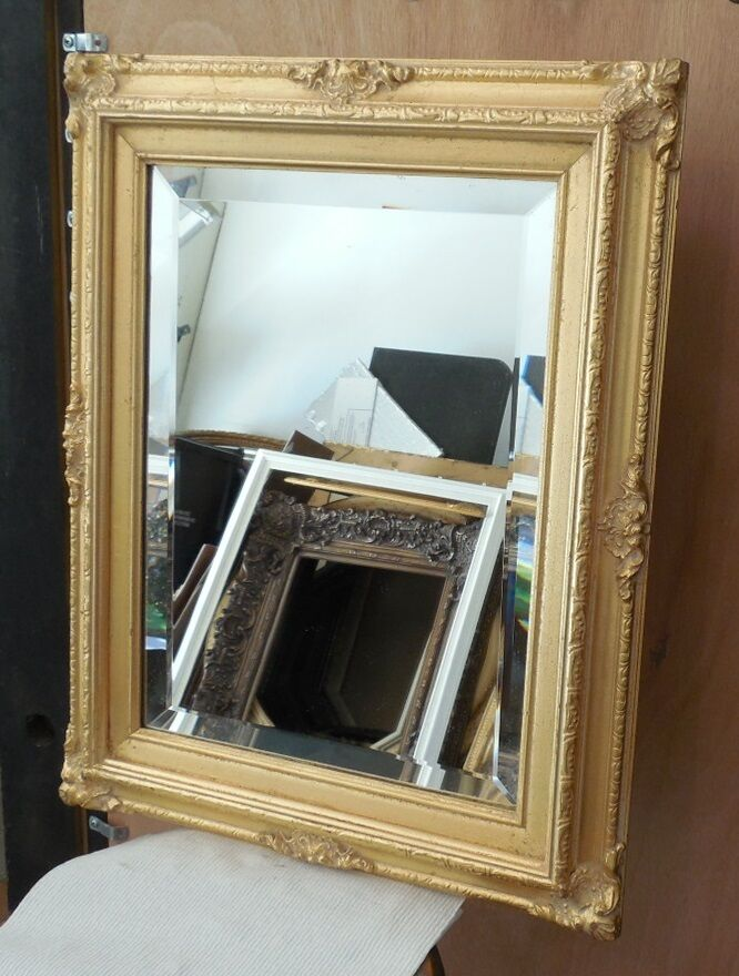 Large solid wood 17x21 rectangle beveled framed wall for Large wall mirror wood frame