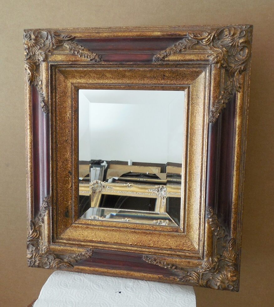 Large solid wood 16x18 rectangle beveled framed wall for Large wall mirror wood frame