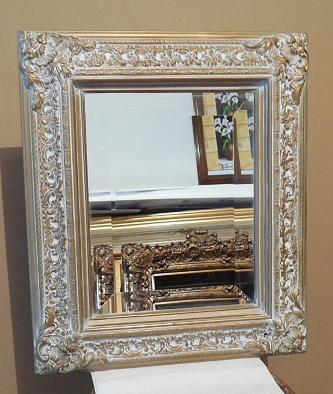 Large solid wood 18x21 rectangle beveled framed wall for Large wall mirror wood frame
