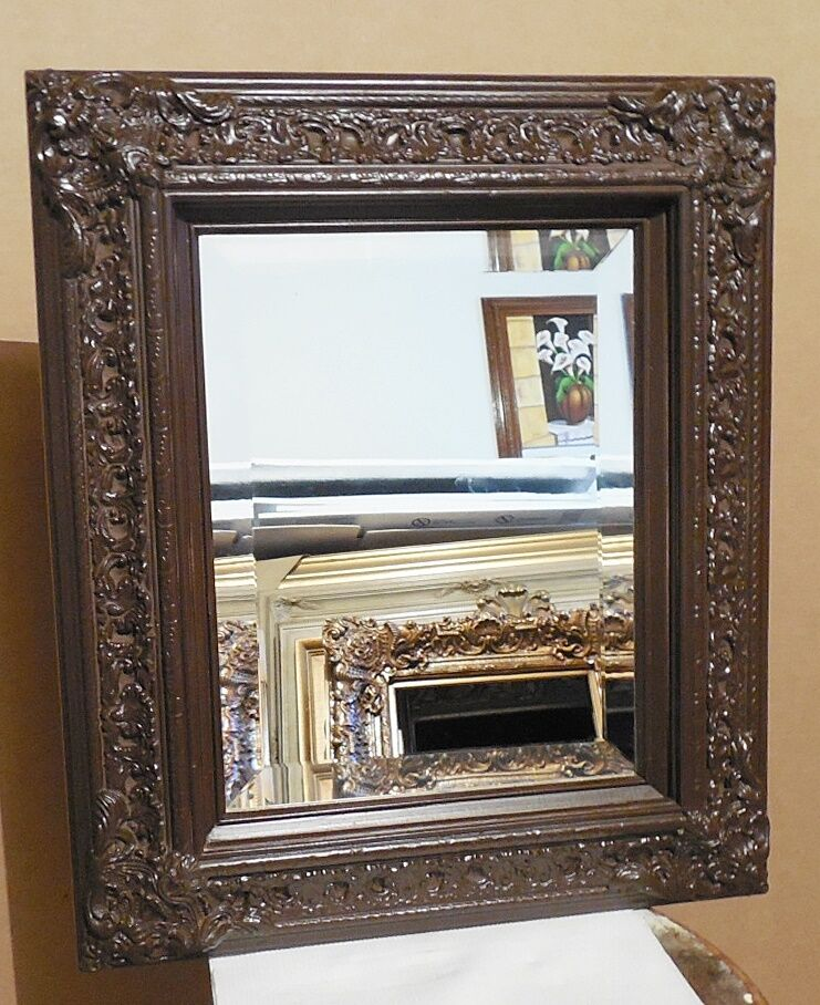Large solid wood 18x21 rectangle beveled framed wall for Tall framed mirror