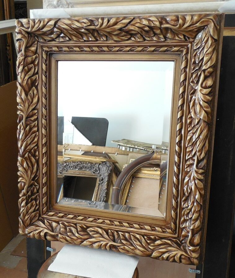 Large wood resin 27x31 rectangle beveled framed wall for Large framed mirrors