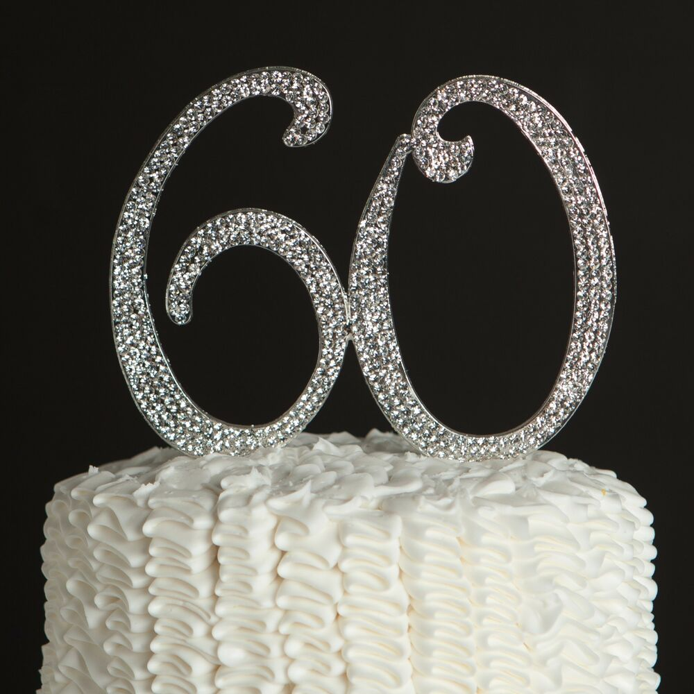 60 Wedding Anniversary Party Ideas: 60 Silver Rhinestone Cake Topper
