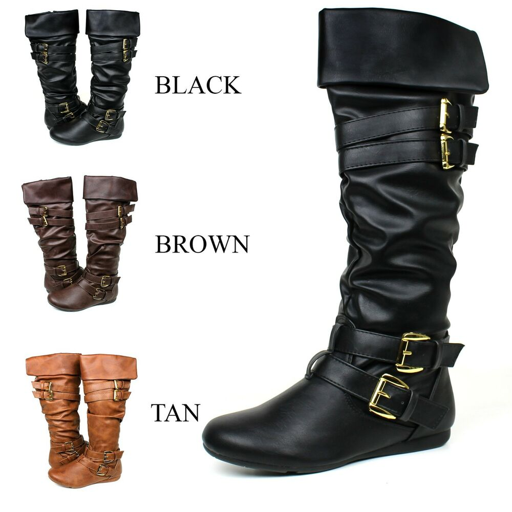 Women Riding Boots Slouch Manmade Leather Sexy Stylish Fashion Knee High Boots Ebay