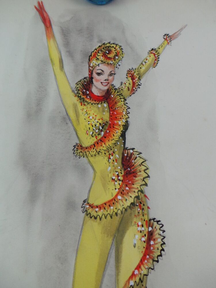 MARYLIN SOTTO Orig. SIGNED Watercolor Ice Skater Girl Ex ...