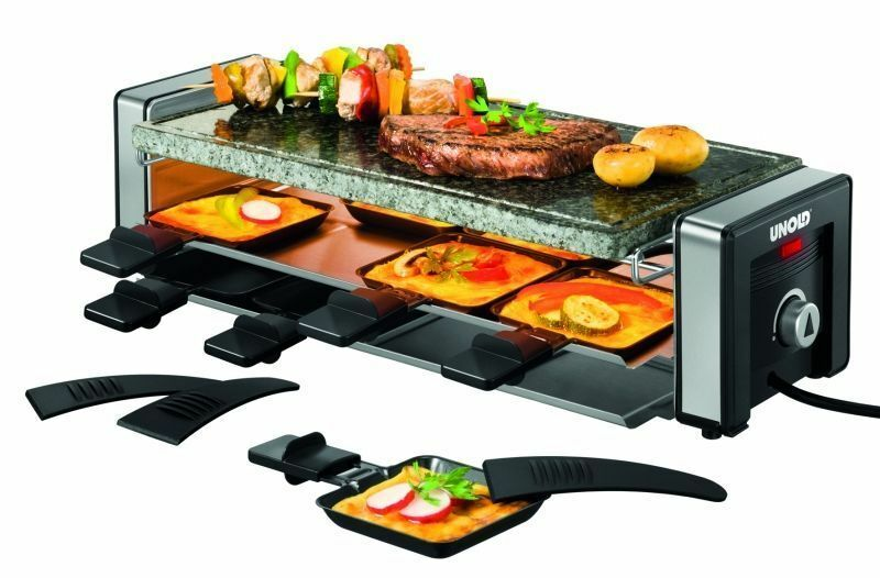 unold d lice raclette cooker grill for 8 persons black ebay. Black Bedroom Furniture Sets. Home Design Ideas