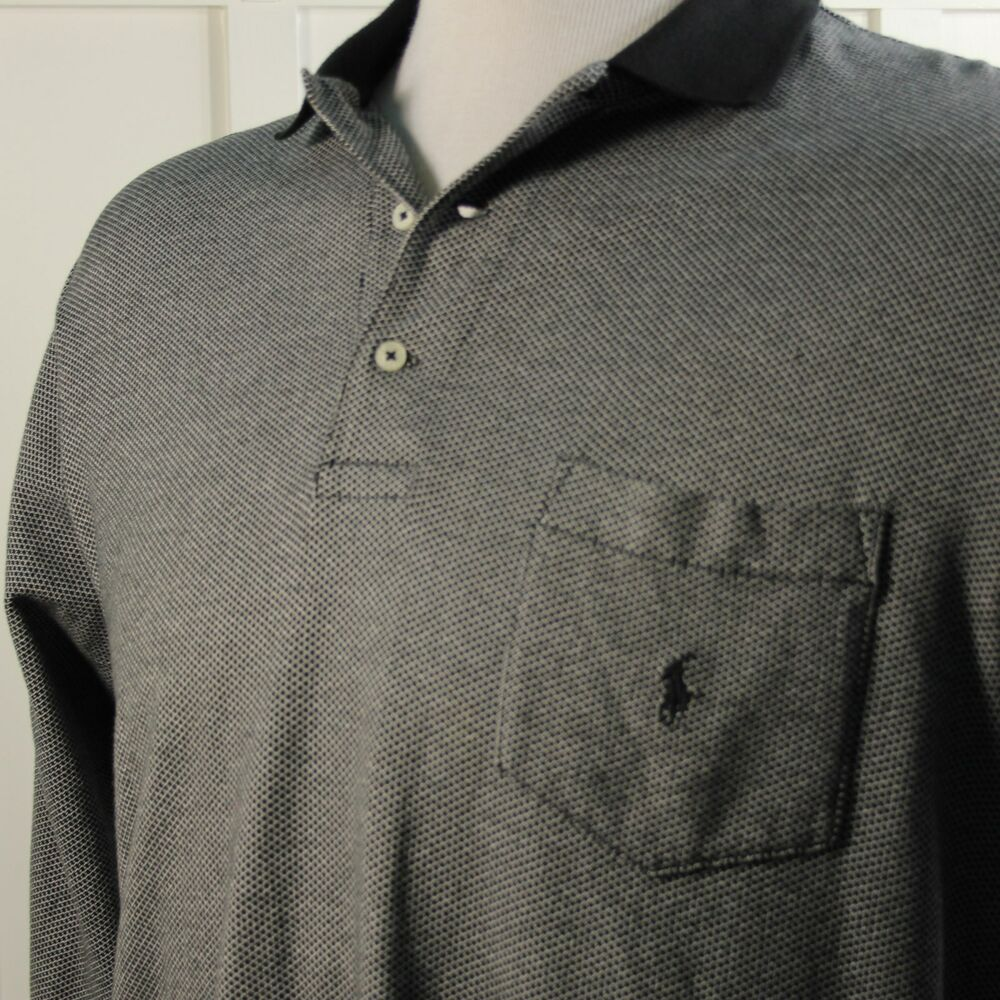 Ralph lauren polo golf mens xl black gray long sleeve soft for Men s cotton polo shirts with pocket