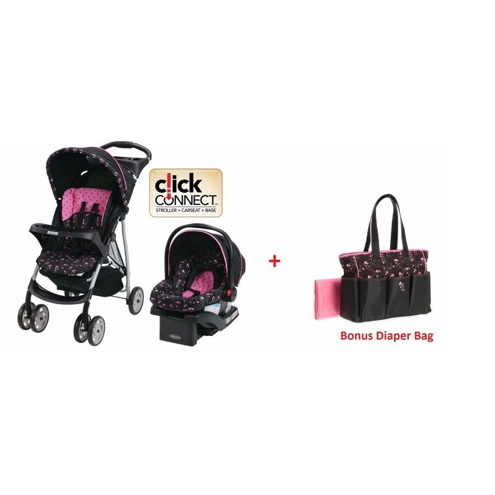 graco baby stroller car seat travel system bonus diaper bag infant pink ebay. Black Bedroom Furniture Sets. Home Design Ideas