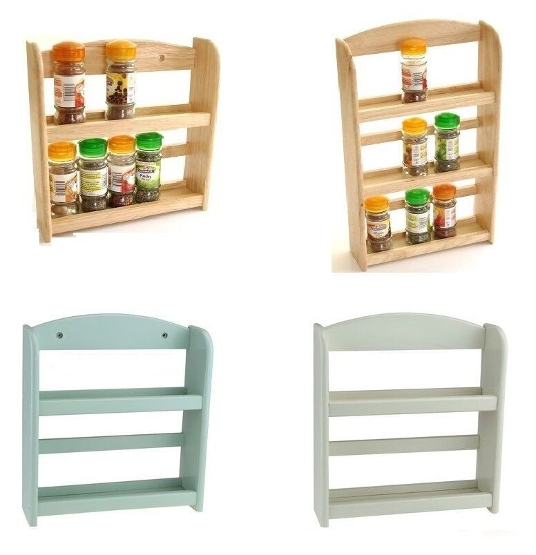 2 Or 3 Tier Wooden Spice Herb Rack Jar Storage Holder Free