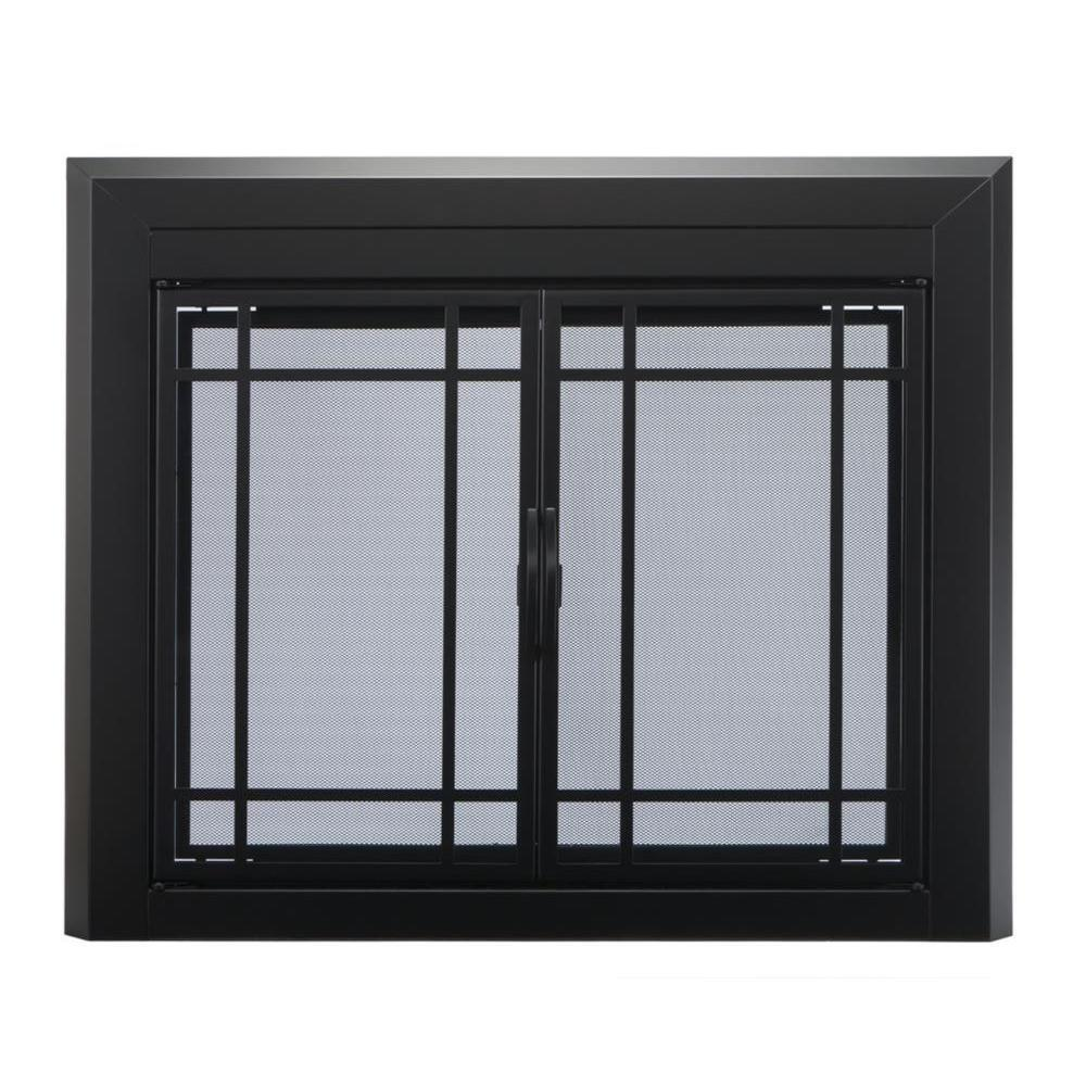 Pleasant Hearth Glass Fireplace Door Easton Black Large Ea