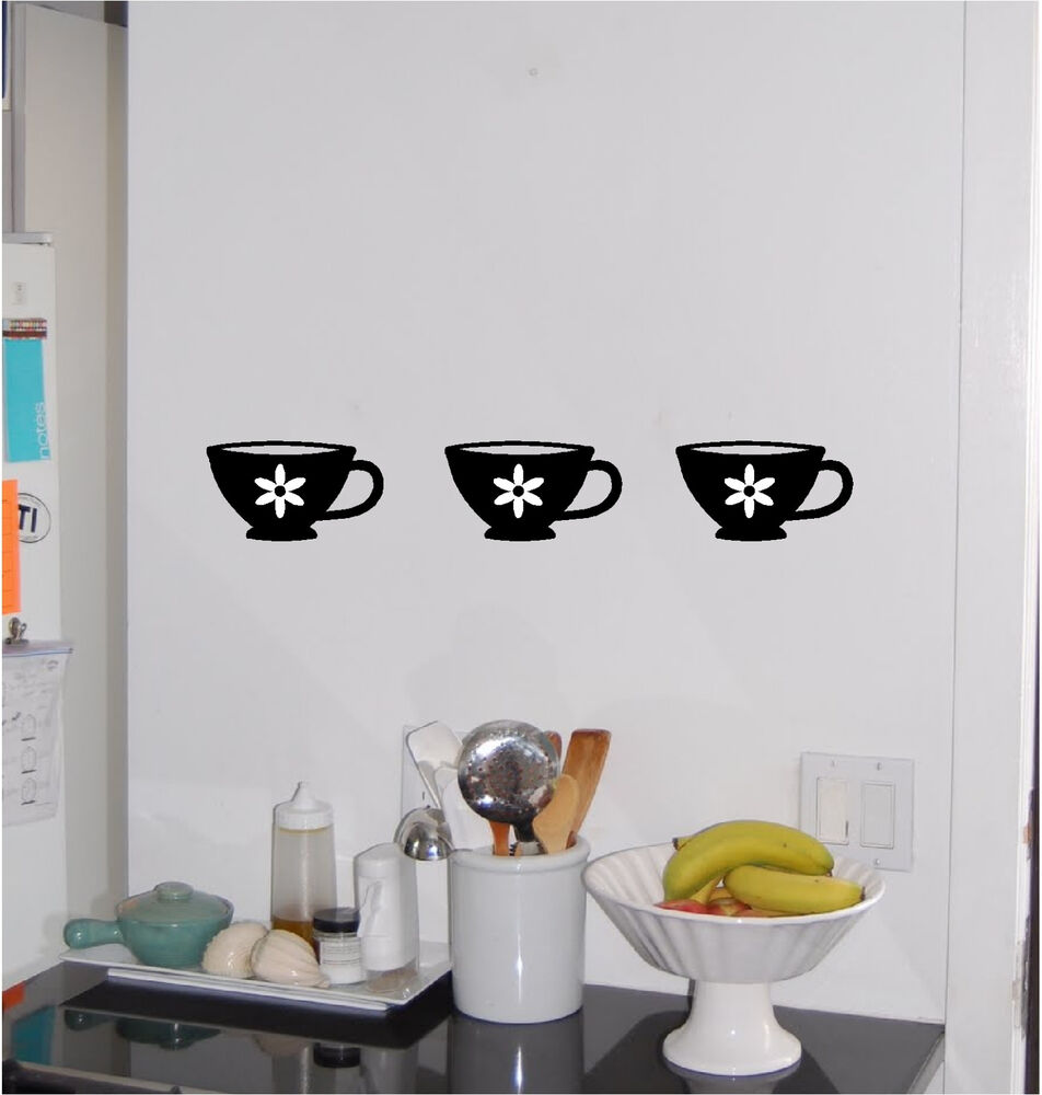 3 tea coffee cups kitchen wall sticker wall art decor for Kitchen wall art sets
