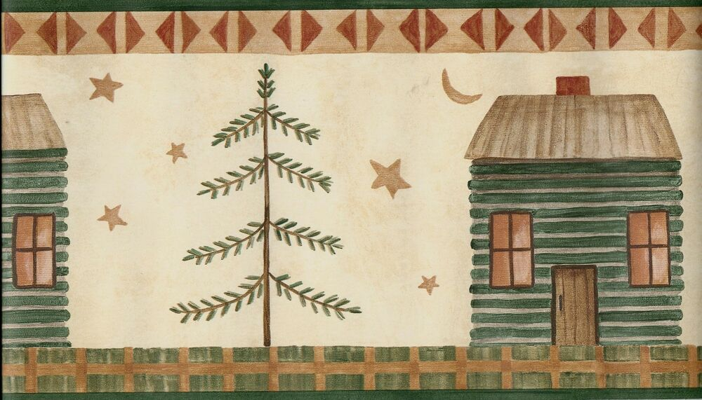 COUNTRY PRIMITIVE LOOK CABIN, TREE, STARS AND MOON GREEN WALLPAPER BORDER
