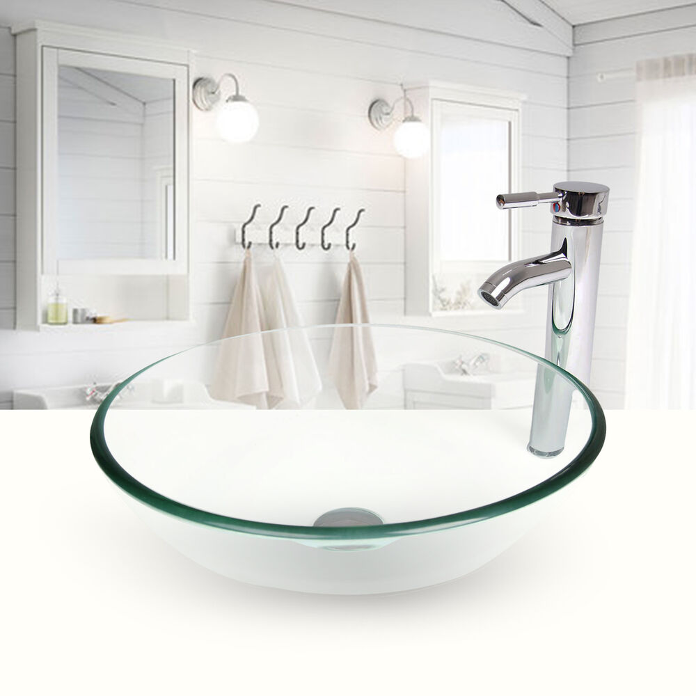 Round Clear Tempered Glass Bathroom Vessel Sink Chrome Faucet Drain Set Ebay