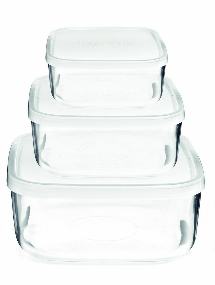 bormioli rocco frigoverre square glass food storage containers with lids set ebay. Black Bedroom Furniture Sets. Home Design Ideas