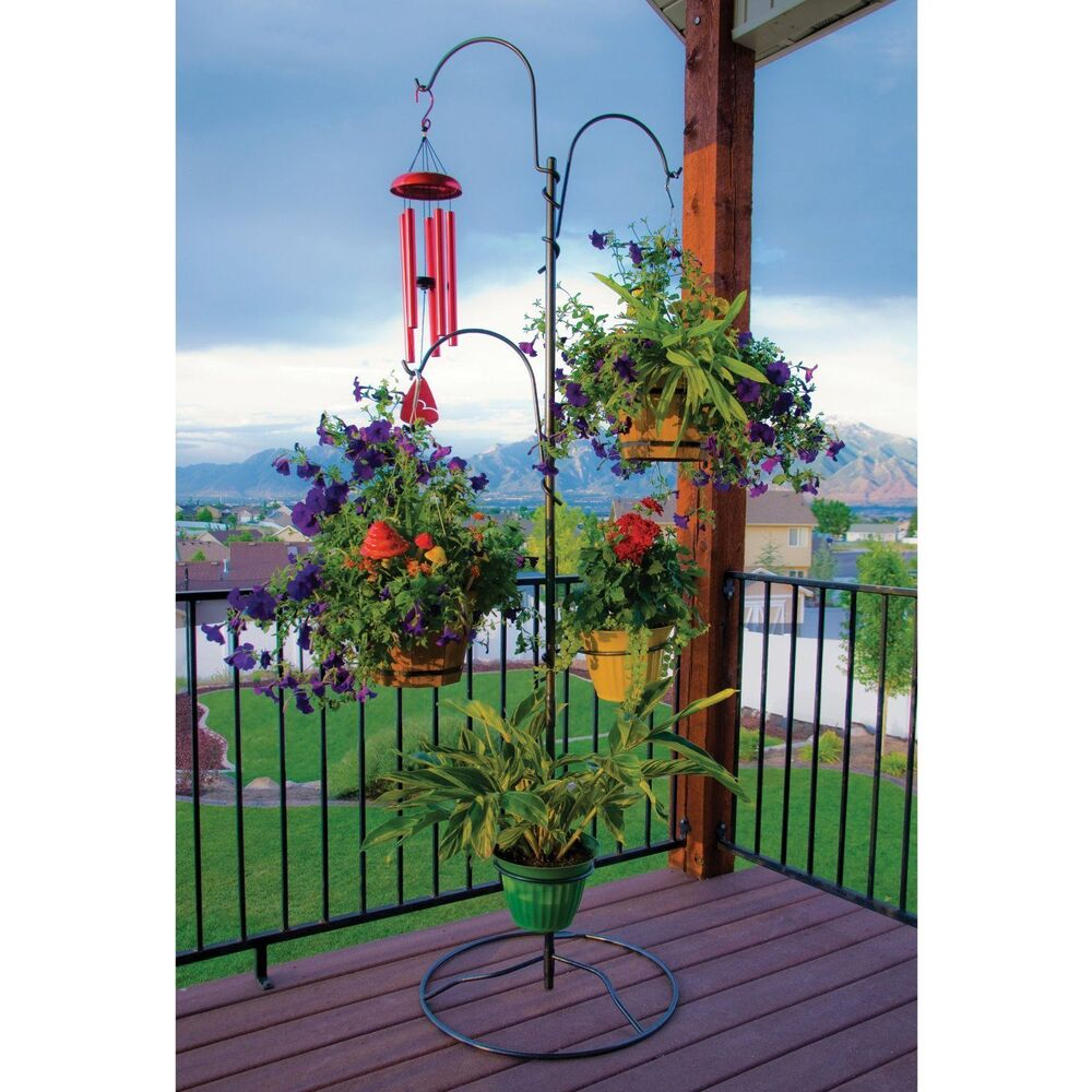 Outdoor Plant Stand Hanging Basket Holder Tree Flower Pot ... on Hanging Plant Stand  id=96221