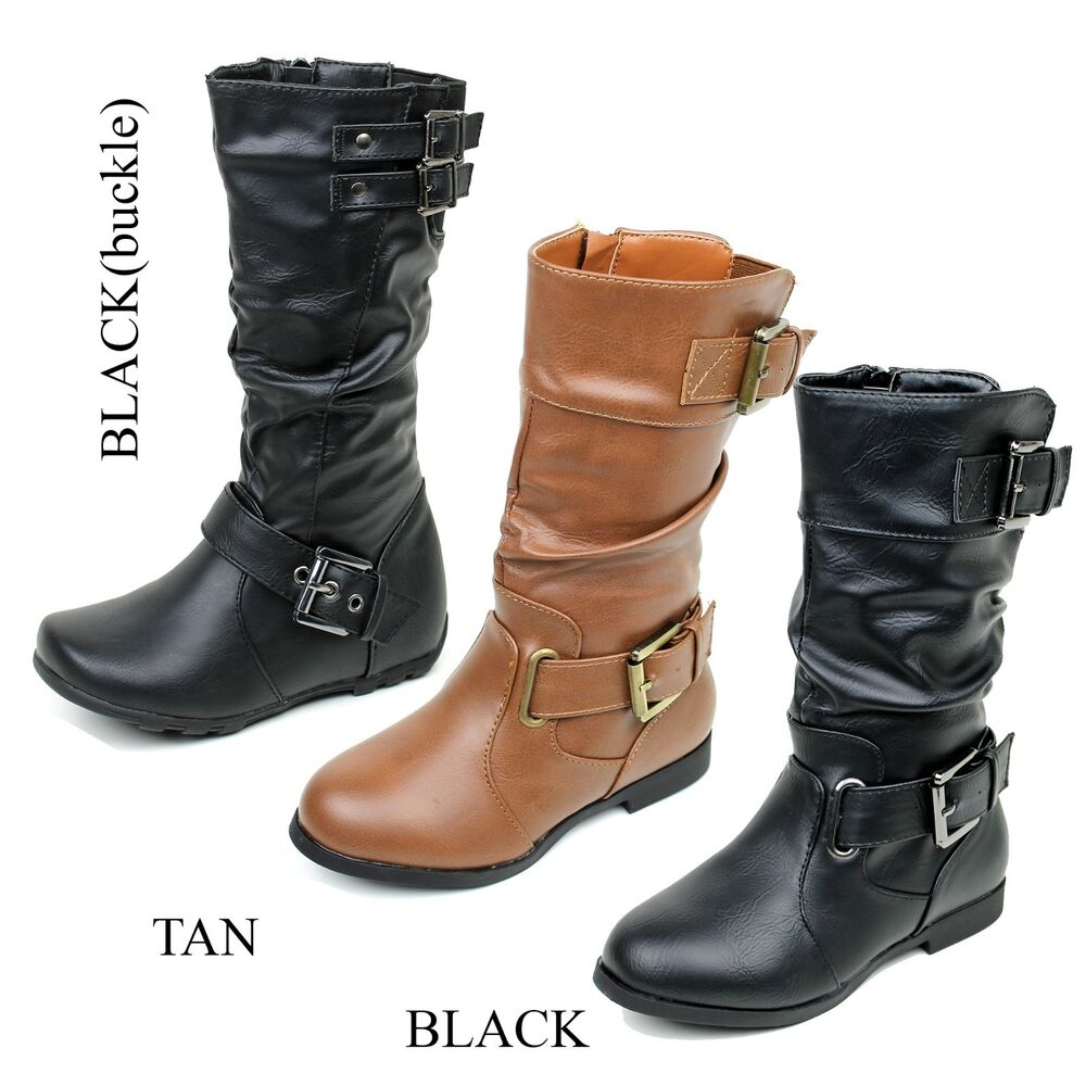 NEW Faux Leather Cute Girls Military Mid Calf Combat Boots ...