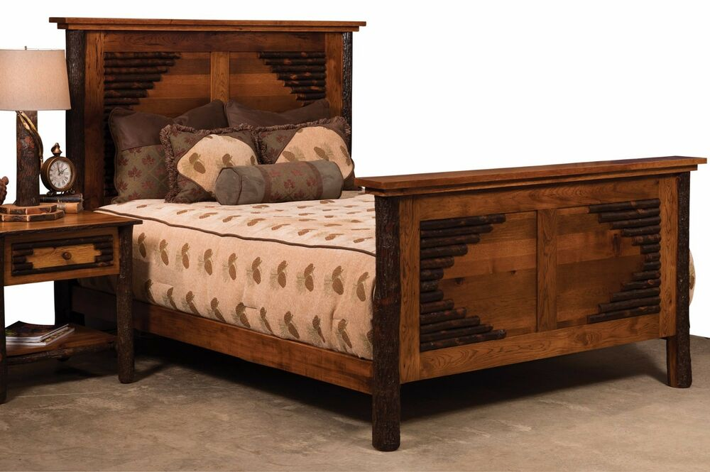 Amish Hickory Panel Bed Solid Hardwood Bedroom Furniture King Queen Ebay