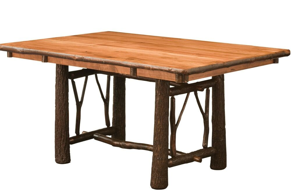 amish hickory twig bark trestle dining table rectangle