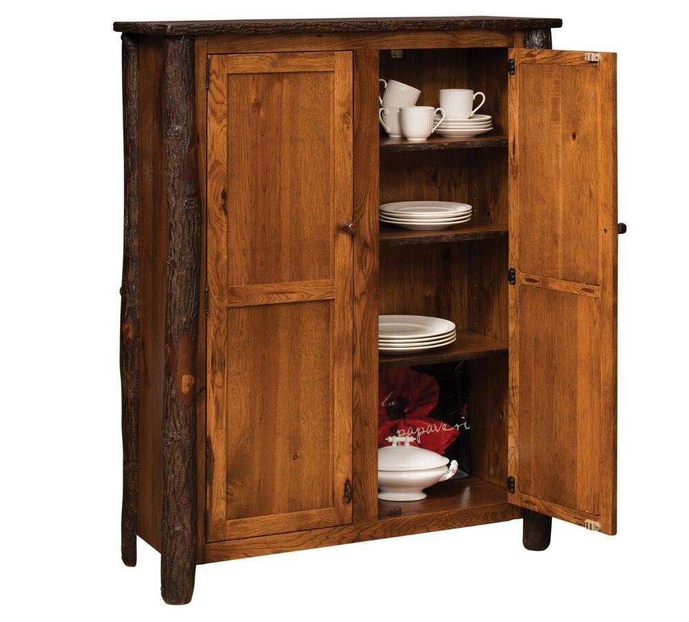 Wooden Pantry Cupboards ~ Amish rustic hickory door jelly cupboard pantry