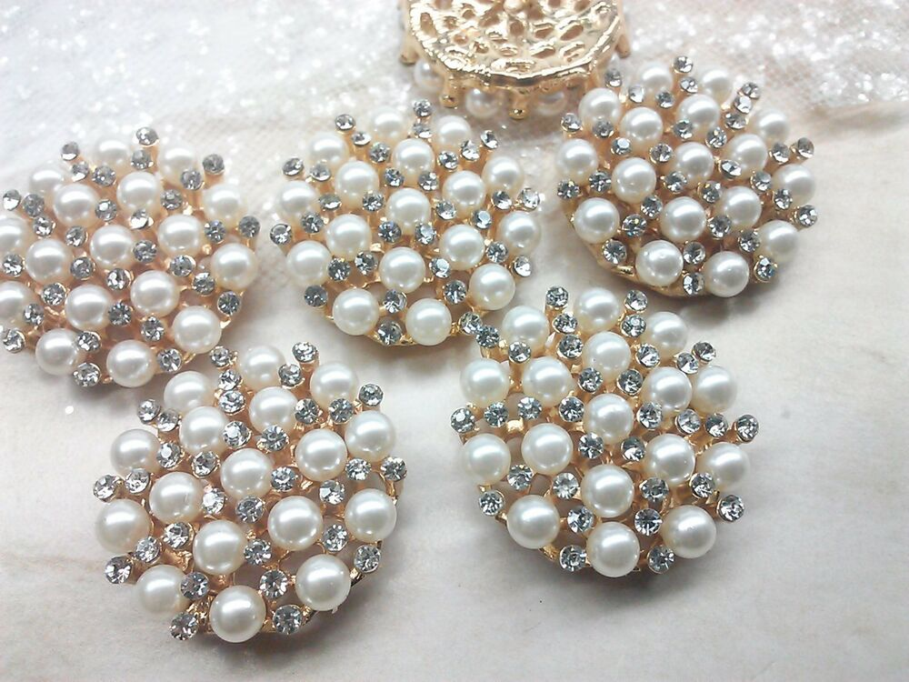pearl gold metal rhinestone buttons large bridal embellishment ebay