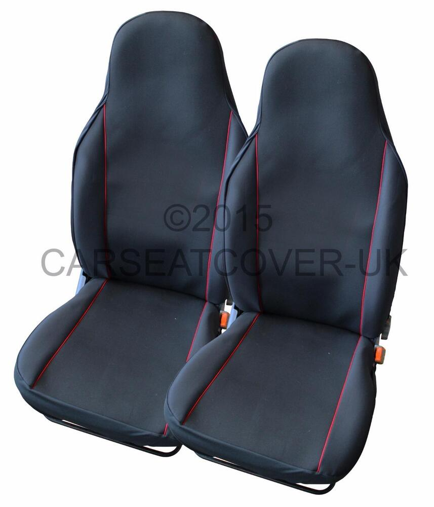mazda mx 5 pair of uk made black red trim car seat covers ebay. Black Bedroom Furniture Sets. Home Design Ideas