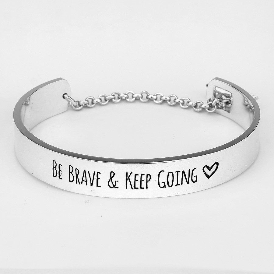 keep going bracelet be brave and keep going cuff bracelet silver arrow clasp 3573